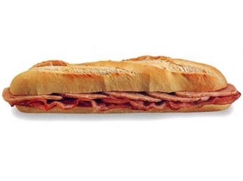Chicken with bacon baguette