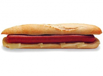 Sausage with cheese baguette