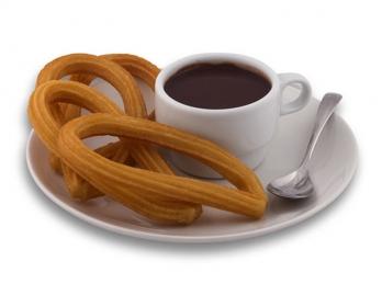 Churro lazo spanish breakfast with hot chocolate